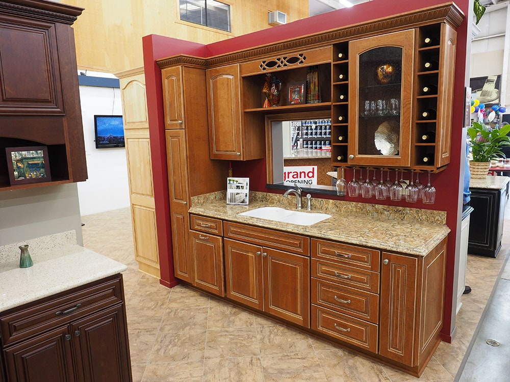 kitchen cabinet display in thomas home center showroom