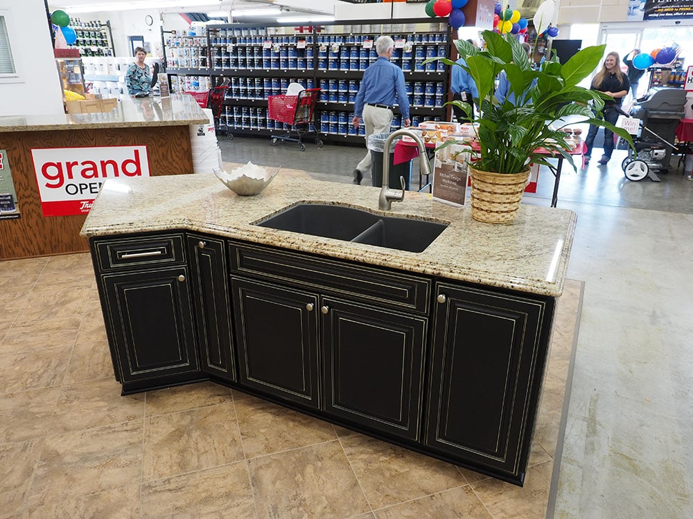 kitchen cabinet display with countertop in thomas home center showroom