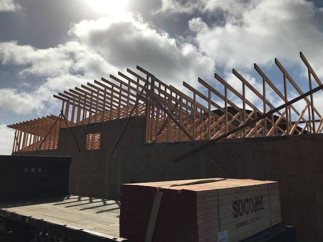 trusses visible on new building construction
