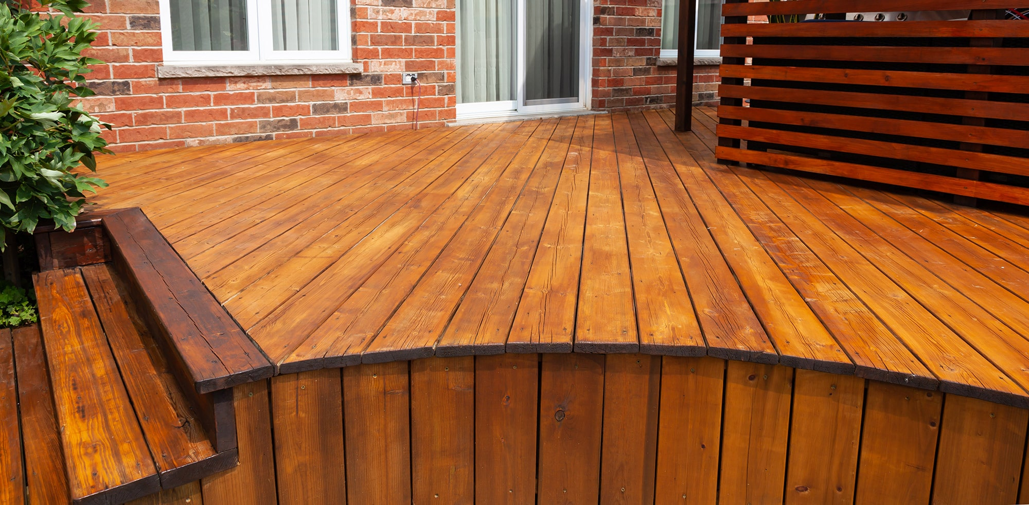 a stained deck